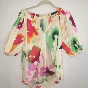 Diane Von Furstenburg watercolor floral top